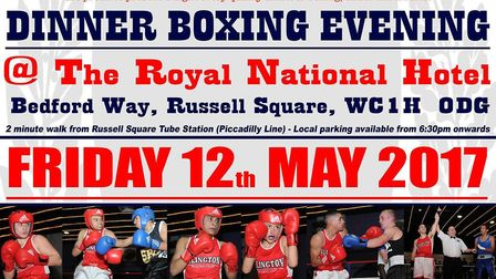 Islington Boxing Club are holding a dinner show on May 12