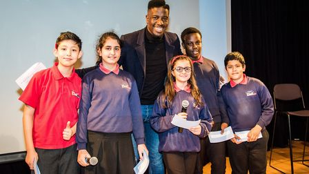 Jermain Jackman with students from Duncombe Primary School debating society at the launch of the Fai