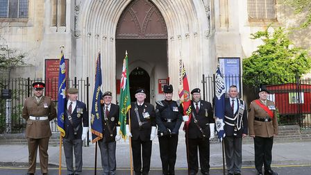 Various regiments were represented at the service. Picture: Dieter Perry