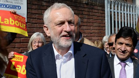 Jeremy Corbyn campaigning in Birmingham this afternoon. Picture: Ben Birchall/PA