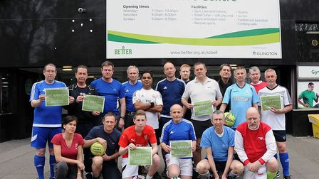 Some of the five-a-side footballers who have been displaced from the Sobell leisure centre in Hollow