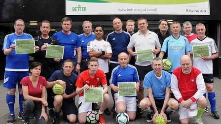 Some of the five-a-side footballers who can no longer play at Sobell. Picture: DIETER PERRY