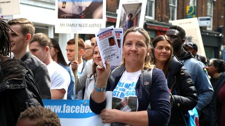 Tracey Hanson, mother of murdered Josh Hanson, at a peace march held by families of knife crime vict