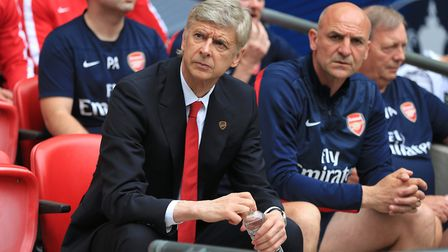 Arsenal manager Arsene Wenger on the bench with his staff prior to kick-off during the FA Cup Final