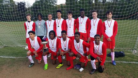 Holloway's year 11 pupils celebrate their 1-0 win over St Mary Magdalene in the Islington & Camden S
