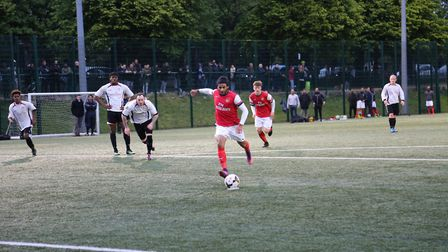 Chris Bourne scores form the penalty spot for Islington Admiral in the Islington Gazette Cup final (