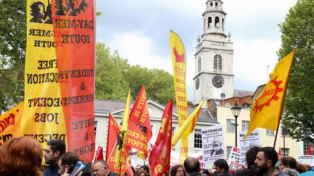 Yesterday's May Day rally in Clerkenwell Green. Picture: Catherine Davison