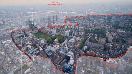 A bird's eye view of the Finsbury Tower site, and surrounding heritage assets. Picture: Islington Co