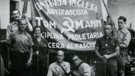 A banner for the Tom Mann Centuria - a group of Brit volunteers living in Barcelona when the Spanish