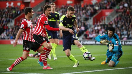 Arsenal's Shkodran Mustafi clears the ball during the Premier League match at Southampton (pic: Nick