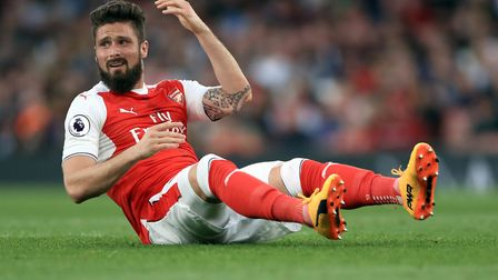 Arsenal's Olivier Giroud reacts during the Premier League match at the Emirates Stadium, London.