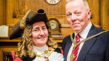 Cllr Una O'Halloran, the new mayor of Islington, with her consort and husband, Ray. Picture: Em Fitz