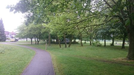 Police cordoned off a tent in Roe Green Park where a young teenager was raped