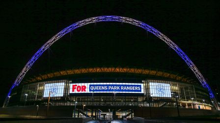 Wembley Stadium's arch lit up for Queens Park Rangers to celebrate its 10th anniversary