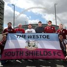 South Shields fans prior to the Buildbase FA Vase Final at Wembley Stadium, London. Picture: SIMON C