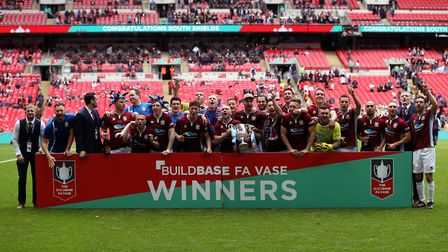 South Shields celebrate winning the Buildbase FA Vase Final at Wembley Stadium, London. Picture: SIM