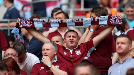 A South Shields fan in the stands during the Buildbase FA Vase Final at Wembley Stadium, London. Pic