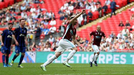 South Shields' Carl Finnigan celebrates scoring his side's first goal of the game during the Buildba