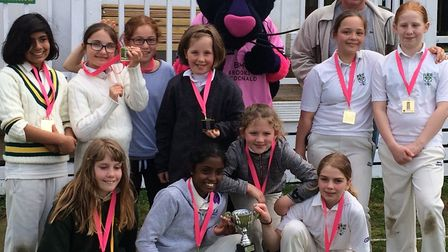 North London's under-11 girls with Middlesex mascot Pinky the Panther at a Lady Taverners tournament