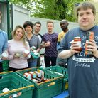 James Rose and Islington Foodbank volunteers at Highbury Roundhouse on Saturday. Picture: Polly Hanc