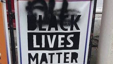 The Black Lives Matter banner was defaced outside Newington Green Unitarian Church. Picture: Andy Pa