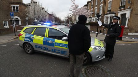Police seal off Wilberforce Road, near Finsbury Park, after the incident in March. Picture: Jonathan