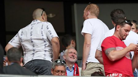 Labour leader Jeremy Corbyn (centre) in the stands during the Emirates FA Cup Final at Wembley Stadi