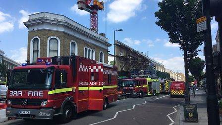 Fire engines at the scene. Picture: James Morris