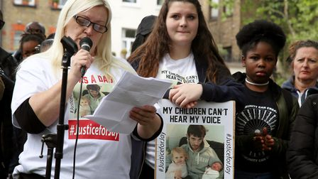 Michelle McPhillips gives a speech at the 'enough is enough' rally which started in Islington Green