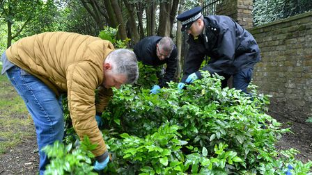 George Kinsella joins officers in the Rosemary Gardens weapon sweep. Picture: Polly Hancock