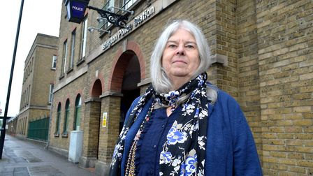 Dr Liz Davies outside Islington Police Station. Picture: Polly Hancock