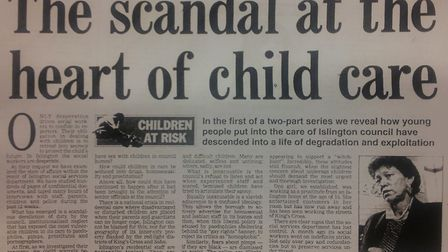 The Evening Standard's reporting on the kids' homes scandal on October 6, 1992. Picture: Evening Sta