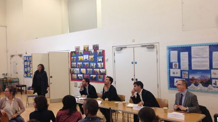 An education hustings was held at St Mary Magdalene Academy in Islington. Speakers were (from left t