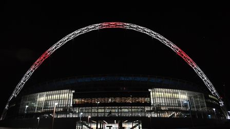 Wembley Stadium lit up after the Manchester concert bomb attack.