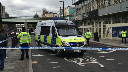 Police in Holloway Road when Smith was arrested in October last year. Picture: James Morris