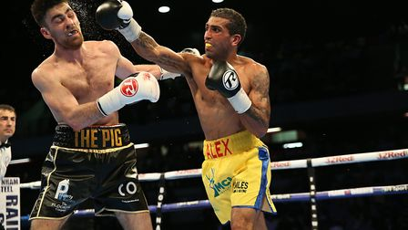 Aarron Morgan on the attack (pic Natalie Mayhew/Butterfly Boxing)