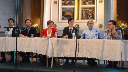Candidates at the Gazette hustings for Islington South and Finsbury in St Mary's Church. Picture: Po