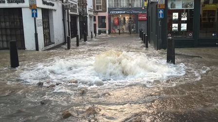 The burst water mains in Upper Street last year. Picture: LONDON FIRE BRIGADE