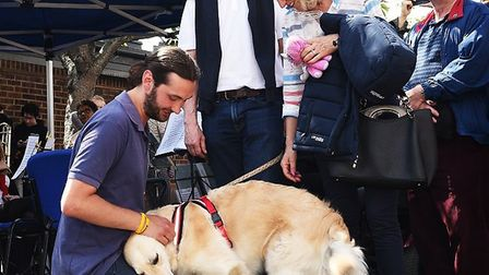 Bella with kennels assistant, Josh Keegan at the Mayhew open day (Picture: Jo Moolenschot)