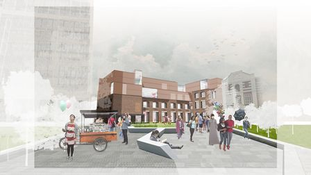 A digital impression of what the Holloway Road plaza and teaching and learning building will look li
