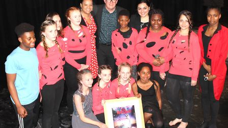 Sir Matthew Bourne with staff and students at Islington Arts and Media School.