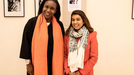 Photographer Elainea Emmott with Tulip Siddiq at the Portraits & Places exhibition in Queen's Park