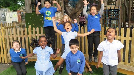 """Students celebrating after Thornhill Primary School received a """"good"""" Ofsted rating from inspectors."""