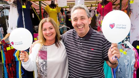Keeley Maskell and Jeffrey Heller launch Islington's search for its market trader of the year. Pictu