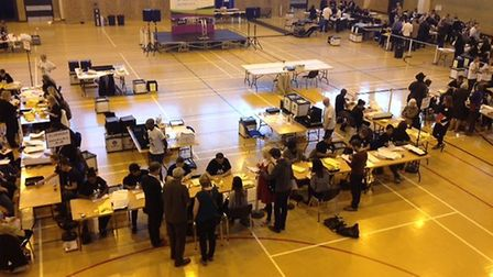 Counting begins at the Sobell Leisure Centre at the 2015 General Election.