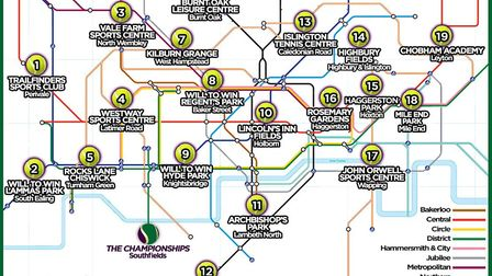 MyLocalPitch have produced a 'Tennis Tube Map' to help Londoners find local courts (pic: MyLocalPitc