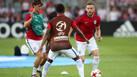 Arsenals Calum Chambers warms up prior to England's European Under-21 Championship match against hos