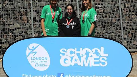 Islington youngsters celebrate with their medals at the London Youth Games regatta (pic LYG)
