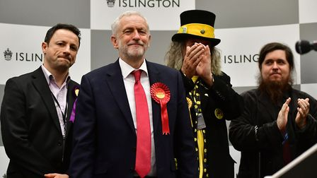 Labour leader Jeremy Corbyn, pictured at the Sobell Leisure Centre count, easily saw off competition