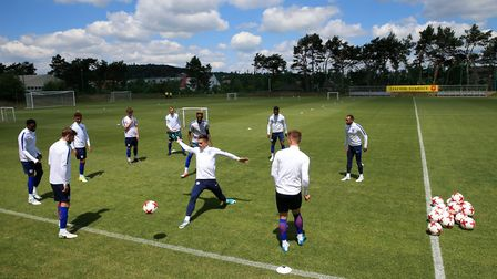England U21s train ahead of their Euro 2017 opener against Sweden in Poland (pic Nick Potts/PA)